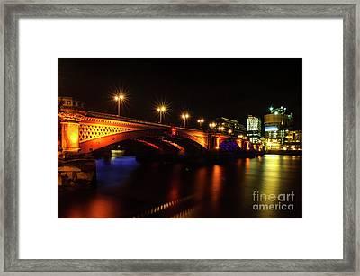 Blackfriars Bridge Illuminated In Orange Framed Print