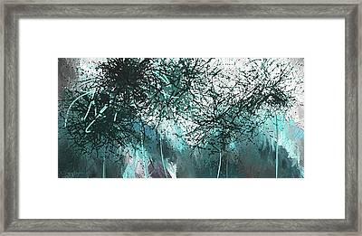 Blackish Blues -turquoise And Gray Modern Artwork Framed Print