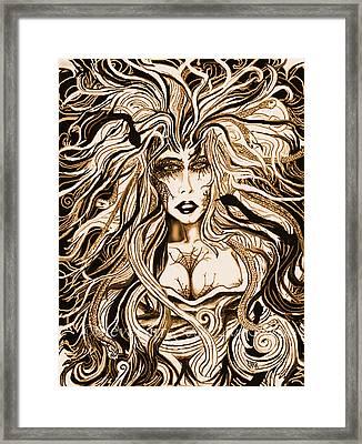 Blackmedusa-sepia Framed Print by Steve Farr