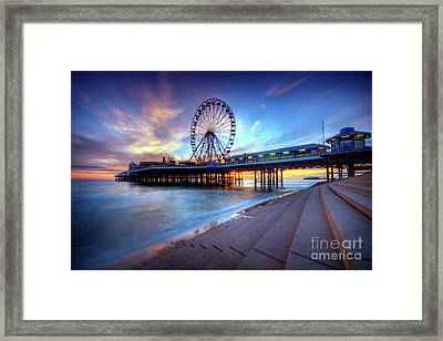 Framed Print featuring the photograph Blackpool Pier Sunset by Yhun Suarez