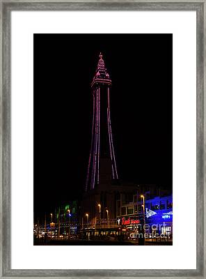 Blackpool Tower Pink Framed Print by Steev Stamford