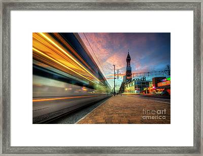 Framed Print featuring the photograph Blackpool Tram Light Trail by Yhun Suarez