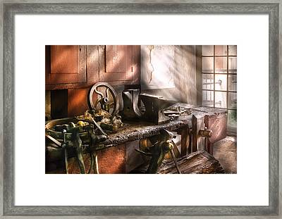Blacksmith - In My Grandfather's Workshop - Current Framed Print by Mike Savad