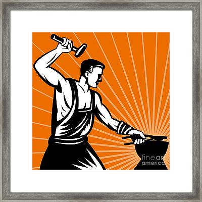Blacksmith At Work Wielding A Hammer Framed Print by Aloysius Patrimonio
