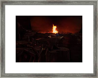 Framed Print featuring the digital art Blacksmith Shop by Chris Flees