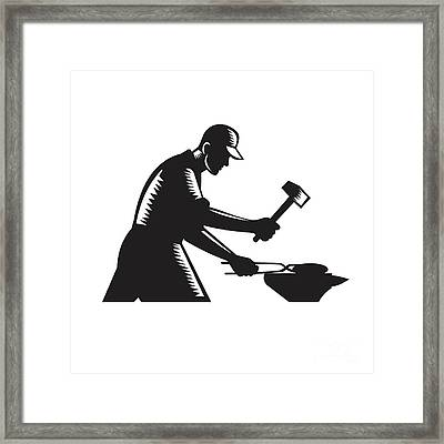 Blacksmith Worker Forging Iron Black And White Woodcut Framed Print