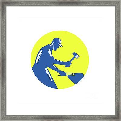 Blacksmith Worker Forging Iron Circle Woodcut Framed Print