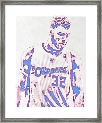 Blake Griffin Los Angeles Clippers Pixel Art Framed Print by Joe Hamilton