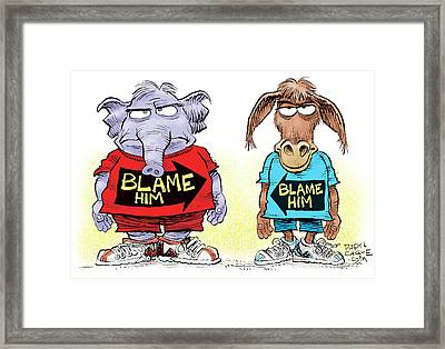 Blame Him Framed Print