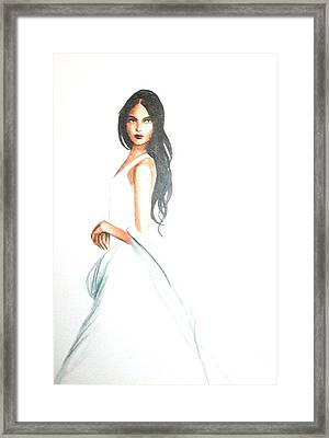 Framed Print featuring the drawing Blanca by MB Dallocchio
