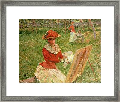 Blanche Hoschede Painting Framed Print by Claude Monet