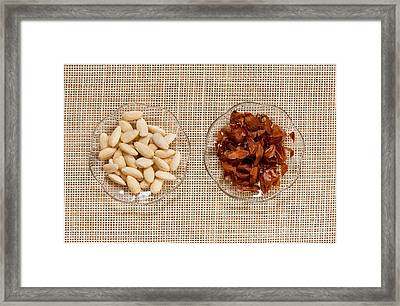 Blanched Almonds And Skins Framed Print