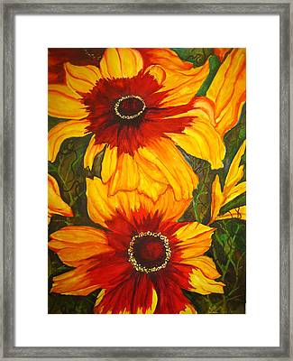 Framed Print featuring the painting Blanket Flower by Lil Taylor