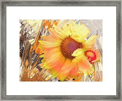Blanket Flowers In The Wind - Floral Abstract Framed Print