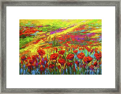 Blanket Of Joy Modern Impressionistic Oil Painting Of Poppy Flower Field Framed Print by Patricia Awapara