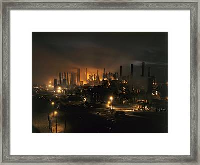 Blast Furnaces Of A Steel Mill Light Framed Print by J Baylor Roberts