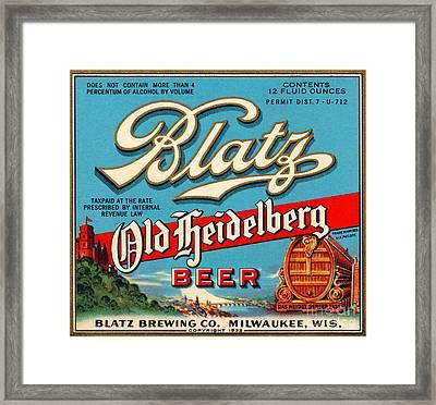 Blatz Old Heidelberg Vintage Beer Label Restored Framed Print