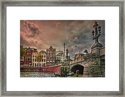 Framed Print featuring the photograph Blauwbrug -blue Bridge- by Hanny Heim