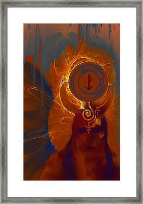 Blazzing Wisdom Through Odins Essence Framed Print