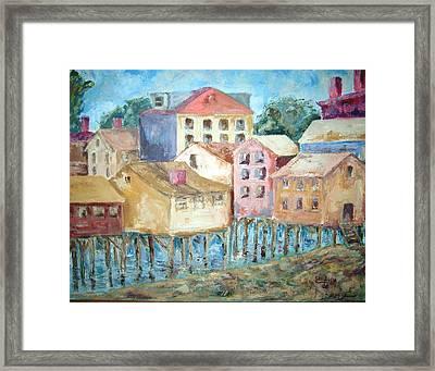 Bldgs In Boothbay Harbor Framed Print by Joseph Sandora Jr
