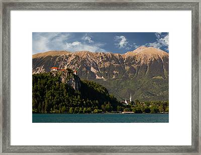 Bled Caste And St. Martin Church In Bled, Slovenia Framed Print