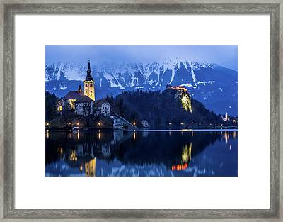 Bled Lake At Blue Hour Framed Print by Vyacheslav Isaev