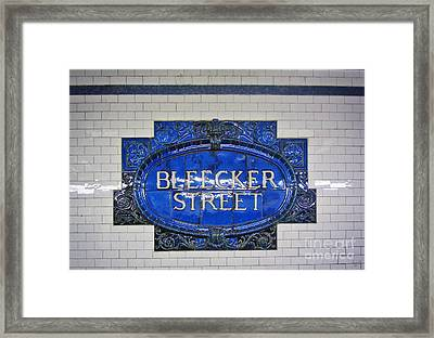 Bleecker Street Subway Sign Framed Print by Nishanth Gopinathan