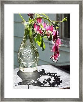 Bleeding Hearts In A Vinegar Bottle Framed Print by Joy Nichols