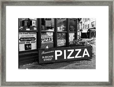 Bleeker Street Pizza Framed Print by John Rizzuto