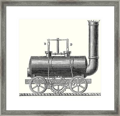 Blenkinsop's Toothed Rack Locomotive Framed Print by English School