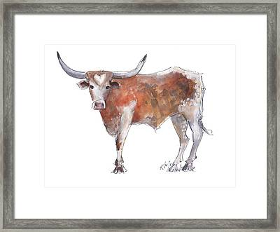 Bless Your Heart Of Texas Longhorn A Watercolor Longhorn Painting By Kathleen Mcelwaine Framed Print