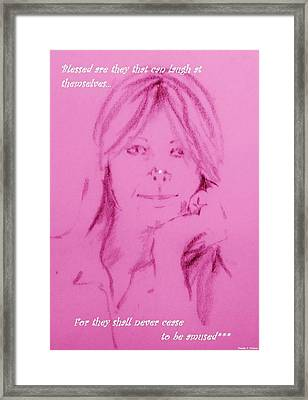 Framed Print featuring the drawing Blessed Are They by Denise Fulmer
