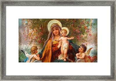 Blessed Mary With Infant Jesus And Angels Cherubs Framed Print by Magdalena Walulik