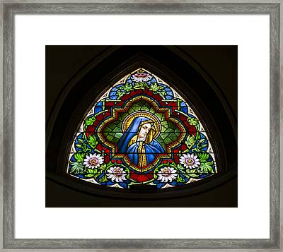 Blessed Virgin Mary Stained Glass Framed Print by Stephen Stookey