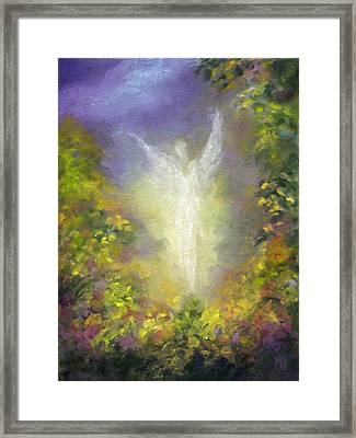 Framed Print featuring the painting Blessing Angel by Marina Petro