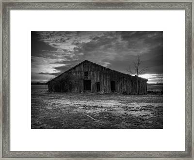 Blighted Barn 003 Bw Framed Print