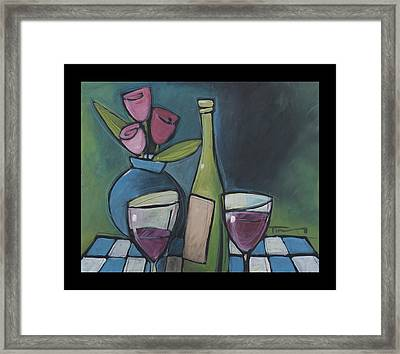 Blind Date Wine And Flowers Framed Print