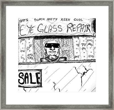 Blind Eye Glass Repair Framed Print by Jera Sky
