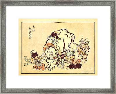 Blind Monks Examining An Elephant Framed Print