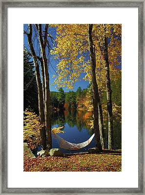 Bliss - New England Fall Landscape Hammock Framed Print by Jon Holiday