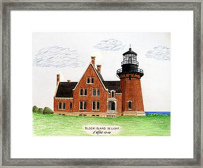 Block Island Se Lighthouse Framed Print by Frederic Kohli