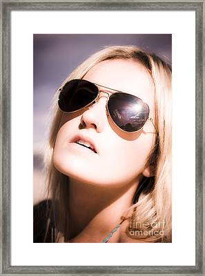 Blond Beach Babe Framed Print by Jorgo Photography - Wall Art Gallery