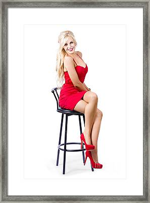 Blond Female Bistro Babe On Bar Stool In Red Dress Framed Print by Jorgo Photography - Wall Art Gallery