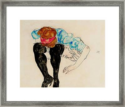 Blond Girl, Leaning Forward With Black Stockings 1912 Framed Print by Egon Schiele