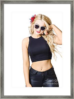 Blond Girl With Red Nails Manicure And Clean Skin Framed Print