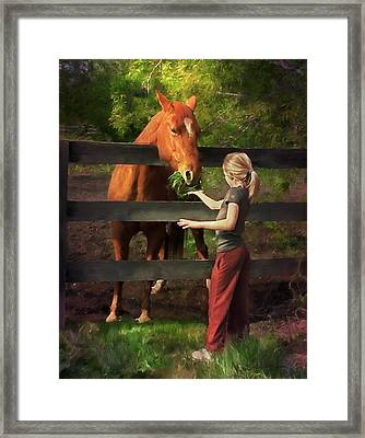Blond With Horse Framed Print