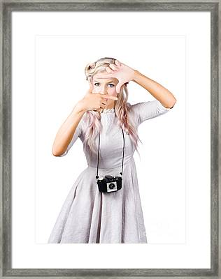 Blond Woman Framing Picture Framed Print by Jorgo Photography - Wall Art Gallery