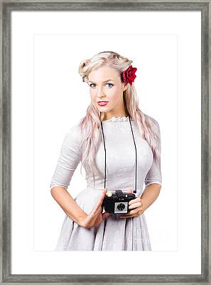 Blond Woman With Camera Framed Print by Jorgo Photography - Wall Art Gallery