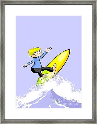 Blonde Boy Jumps Over The Waves With His Colorful Surfboard Framed Print