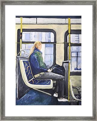 Blonde Girl On 107 Bus Montreal Framed Print